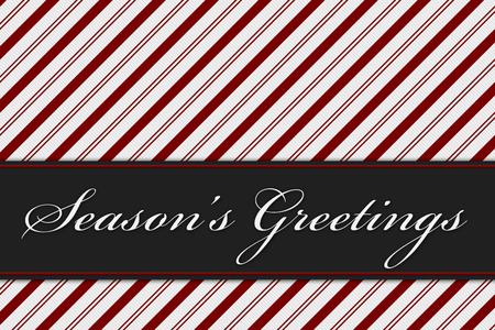 Season's Greetings Message, Red and White Candy Cane Stripe Background and text Season's Greetings