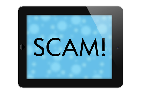 overwhite: Scam Alerts, Tablet with words Scam in Text isolated on a white background Stock Photo