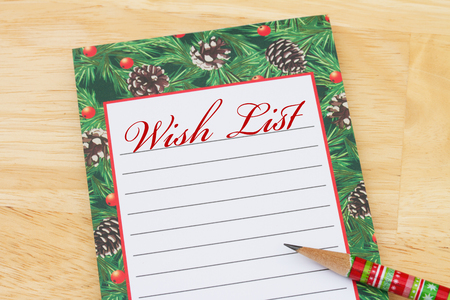 Christmas Wish List, Christmas Wish List with pencil and copy-space for your message