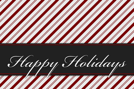 stripe: Happy Holiday Greeting, Red and White Candy Cane Stripe Background and text Happy Holiday