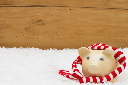 christmas savings: Christmas Savings, Piggy Bank with scarf on snow with a weathered wood background and copy-space for your message