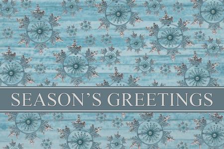 Groeten van het seizoen Message, Blauwe Achtergrond van de Sneeuwvlok en Groeten tekst van het Seizoen