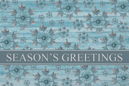 Seasons Greetings Message, Blue Snowflake Background and text Seasons Greetings