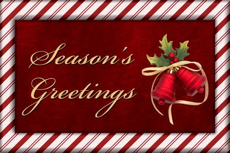 campanas de navidad: Mensaje saludo de la estaci�n, Rojo piel de la felpa, Campanas de Navidad Navidad y bast�n de caramelo de la frontera con el texto Saludo de la temporada