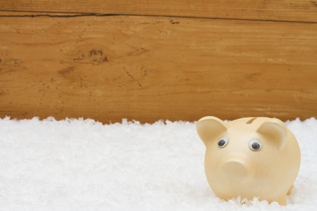 christmas savings: Christmas Savings, Piggy Bank on snow with a weathered wood background and copy-space for your message