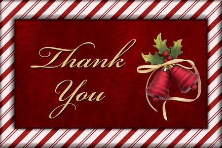 campanas de navidad: Gracias mensaje, Rojo piel de la felpa, Campanas de Navidad Navidad y bast�n de caramelo de la frontera con el texto Gracias Foto de archivo