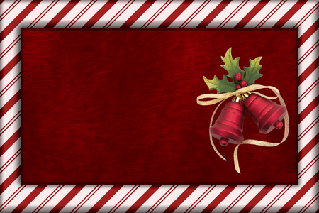 christmas bells: Red Plush Fur, Christmas Bells Christmas and Candy Cane Border Background with copy space for your message