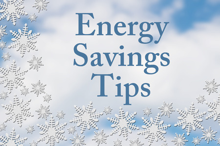 saving tips: Energy Savings Tips Message, White Snowflake Background with text Energy Savings Tips Stock Photo