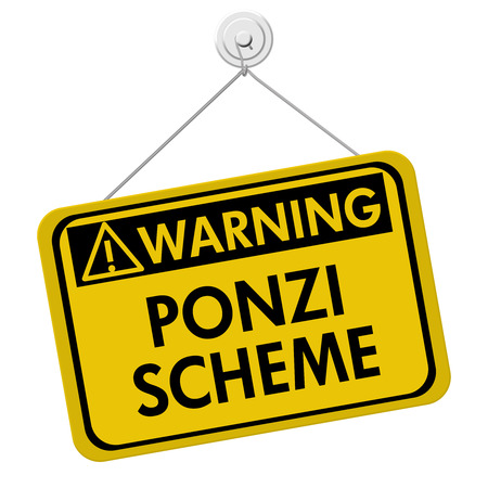 schemes: Ponzi Scheme Warning Sign,  A yellow sign with the words Ponzi Scheme isolated on a white background Stock Photo
