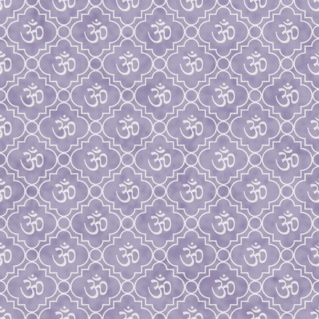Purple and White Aum Hindu Symbol Tile Pattern Repeat Background that is seamless and repeats