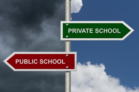 pointing: Private School versus Public School concept, Red and Green street signs with blue and stormy sky with words Private School versus Public School