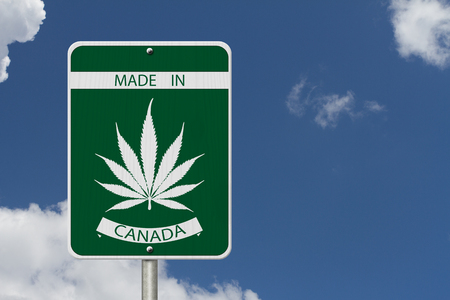 weeds: Green and White Trans-Canada Highway Sign with Marijuana leaf in place of Maple leaf with text Made in Canada with sky background