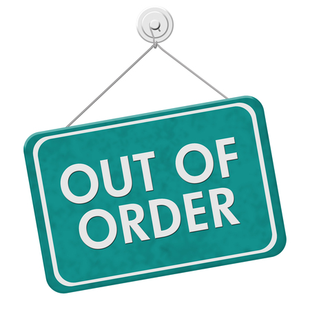 out of order: A teal and white sign with the words Out of Order isolated on a white background Stock Photo