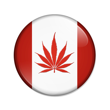 replaced: A red and white button with the Canadian flag but the maple leave replaced by the marijuana leaf isolated on a white background
