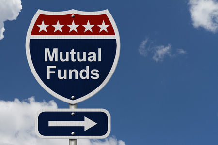 mutual funds: Red, White and Blue American Highway Sign with words Mutual Funds with sky background