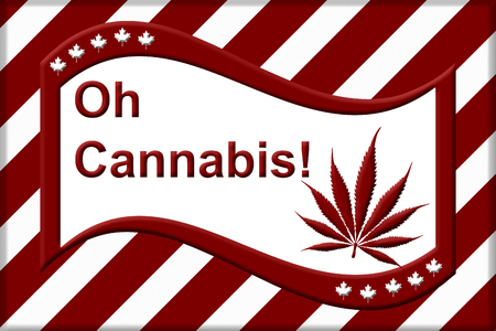 A red and white like Canadian flag but the maple leave replaced by the marijuana leaf with text Oh Cannabis Stock Photo