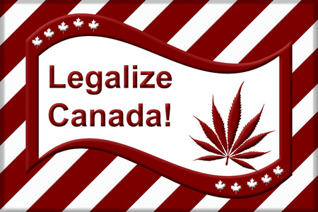 replaced: A red and white like Canadian flag but the maple leave replaced by the marijuana leaf with text Legalize