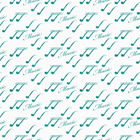 eight note: Teal and White Music Symbol Tile Pattern Repeat Background that is seamless and repeats