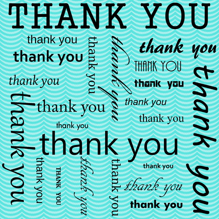 Thank You Design with Teal Wavy Stripes Tile Pattern Repeat Background that is seamless and repeats