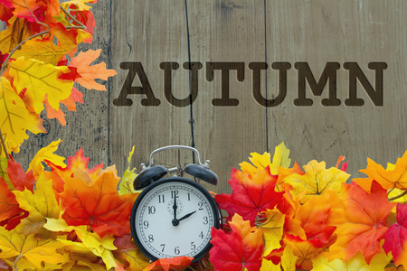 back in an hour: Autumn Leaves and Alarm Clock with grunge wood with text Autumn