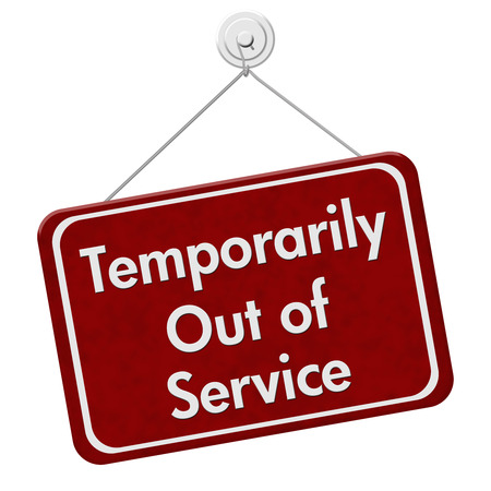 temporarily: A red and white sign with the words Temporarily Out of Service isolated on a white background