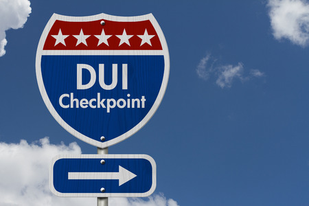 dui: American DUI Checkpoint Highway Road Sign, Red, White and Blue American Highway Sign with words DUI Checkpoint with sky background Stock Photo