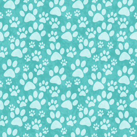 print: Teal Doggy Paw Print Tile Pattern Repeat Background that is seamless and repeats
