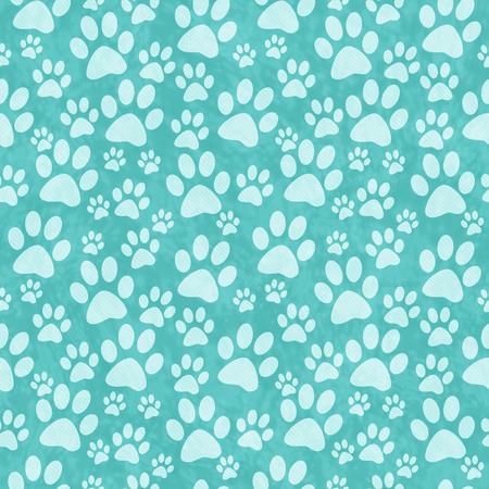 impresion: Teal perrito de la pata de la impresi�n del modelo del azulejo de repetici�n de fondo que se repite sin fisuras y Foto de archivo