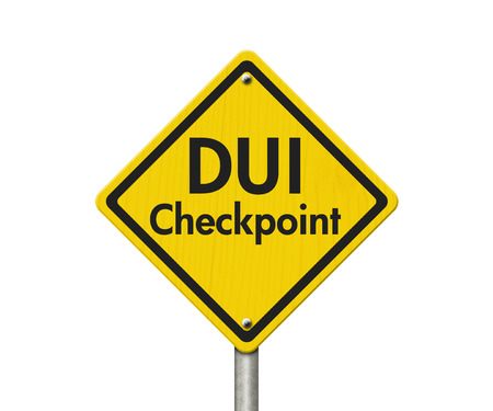 checkpoint: Yellow Warning DUI Checkpoint Highway Road Sign, Red, Yellow Warning Highway Sign with words DUI Checkpoint isolated on white