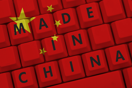 manufacture: Made in China, The Chinese flag on a computer keyboard with text Made in China