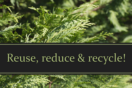 reduce: Reuse, reduce and recycle Message, Evergreen Background with text Reuse, Reduce and Recycle Stock Photo