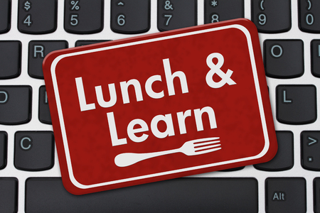 computers online: Lunch and Learn Sign, A red hanging sign with text Lunch and Learn and a fork on a keyboard