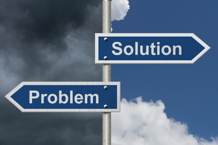 problems solutions: Finding Solutions for your Problems, Two Blue Road Sign with text Problem and Solution with bright and stormy sky background Stock Photo