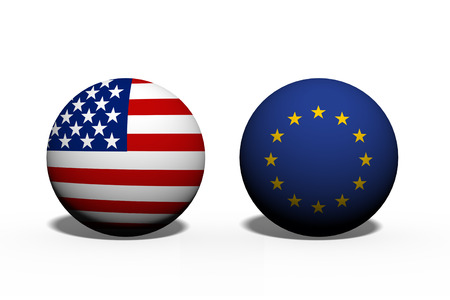 allies: The United States of America and European Union working together, Two globes with a flag of the United States and European Union isolated on white
