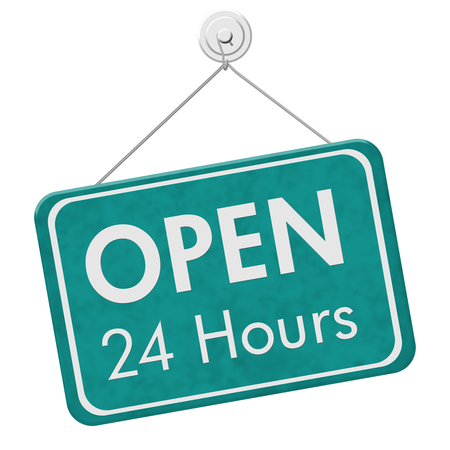 24 hours: Open 24 Hours Sign, A teal hanging sign with text Open 24 Hours isolated over white Stock Photo
