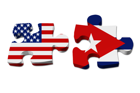 stated: Relationship between the United Stated and Cuba, Two pieces of a puzzle with the American flag on one and the Cuban flag on the other isolated over white