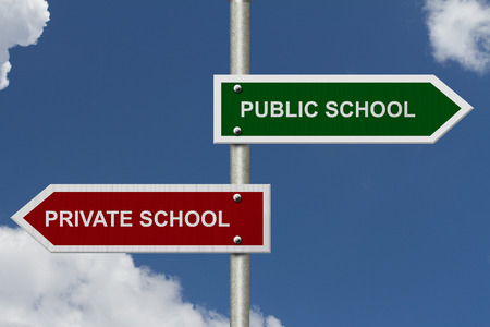 private schools: Public School versus Private School concept, Red and Green street signs with blue sky with words Public School versus Private School