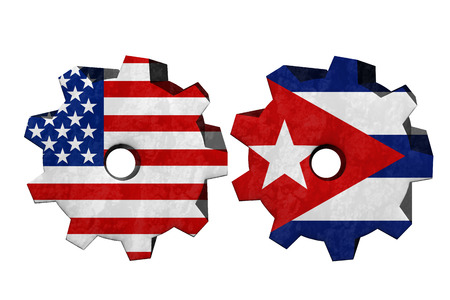an ally: The United States of America and Cuba working together, Two cogwheels with a flag of the United States and Cuba isolated on white