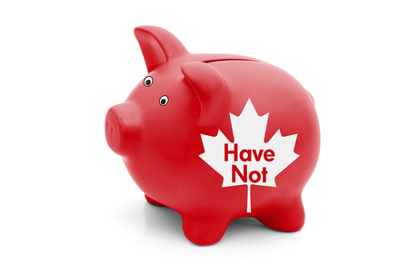 overwhite: Being a Have Not Province in Canada, A red piggy bank with a white Canadian maple leaf flag and text Have Not isolated on white