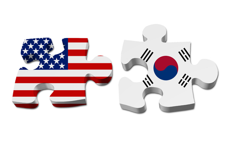 stated: Relationship between the United Stated and South Korea, Two pieces of a puzzle with the American flag on one and the South Korean flag on the other isolated over white Stock Photo