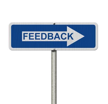 isolated sign: Getting Feedback for your business, A Blue Road Sign with text Feedback isolated over white Stock Photo