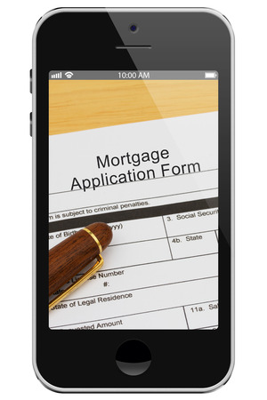mortgage application: Applying for your mortgage on the Internet, Mortgage Application Form with Pen on a cell phone display