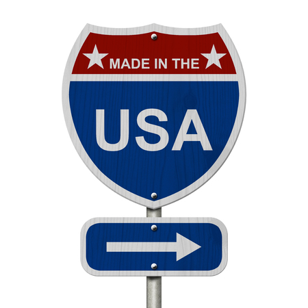 overwhite: American Made in the USA  Highway Road Sign, Red, White and Blue American Highway Sign with words Made in the USA isolated on white Stock Photo