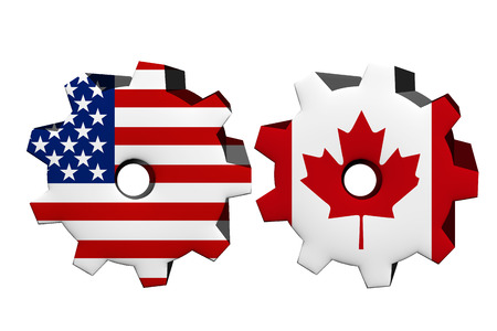 an ally: The United States of America and Canada working together, Two cogwheels with a flag of the United States and Canada isolated on white Stock Photo