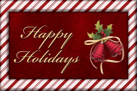 campanas de navidad: Buenas fiestas, rojo piel de la felpa, Campanas de Navidad Navidad y bast�n de caramelo de la frontera con el texto buenas fiestas Foto de archivo