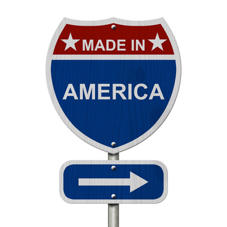 red america: American Made in America Highway Road Sign, Red, White and Blue American Highway Sign with words Made in America isolated on white