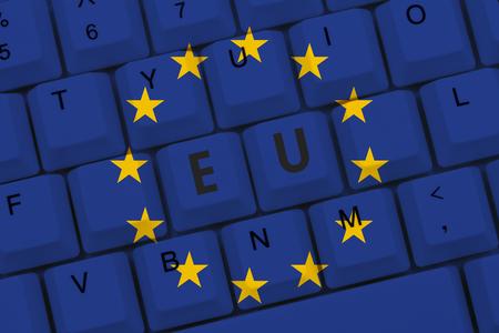 computers online: Internet access in European Union, The European Union flag on a computer keyboard