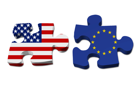 allies: Relationship between the United Stated and European Union, Two pieces of a puzzle with the American flag on one and the European Union flag on the other isolated over white