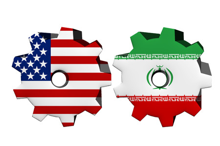 an ally: The United States of America and Iran working together, Two cogwheels with a flag of the United States and Iran isolated on white