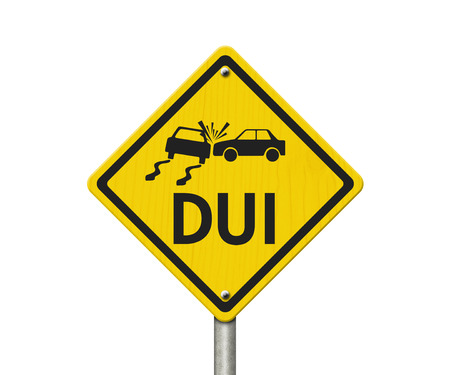 under the influence: Yellow Warning DUI Highway Road Sign, Red, Yellow Warning Highway Sign with words DUI isolated on white Stock Photo